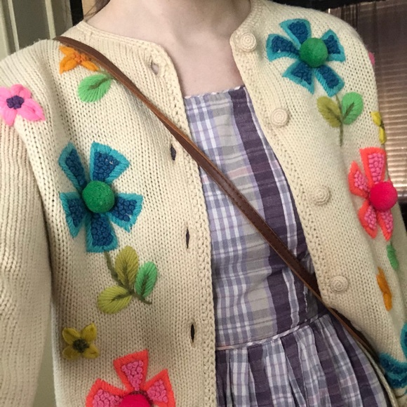 Vintage 60s flower embroidery sweater  1960s cream knit cardigan  floral embroidery flower power cardi
